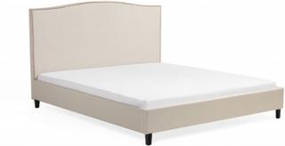Säng beige-brun - dubbelsäng - stoppad säng med ribbotten - 180x200 cm