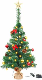 vidaXL kunstigt juletræ dekoreret med kugler og LED'er 64 cm grøn