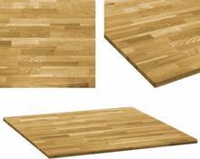 vidaXL bordplade massivt egetræ firkantet 23 mm 80 x 80 cm