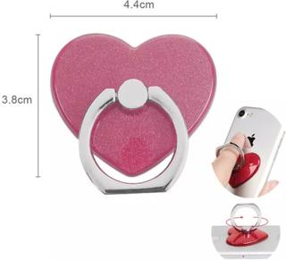 Universal Mobilhållare Fingerhållare Ring Hjärta Rosa Bordsställ