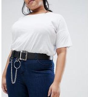 ASOS DESIGN Curve chain & ring detail waist & hip belt - Black