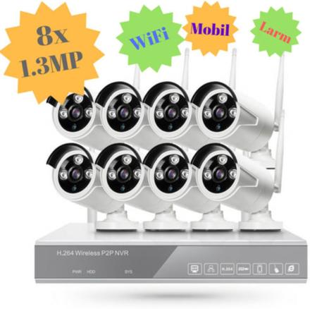 CCTV-reseller STORT övervakningssystem i WiFi. 8x kameror på 1.3 Megapixel ute/inne