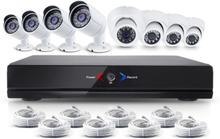 CCTV-reseller Övervakningssystem 1.3MP 4x ute + 4x inne övervakningskameror med POE