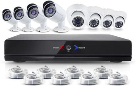 CCTV-reseller Övervakningssystem 1.0MP 4x ute + 4x inne övervakningskameror med POE