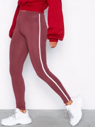 NLY Trend Striped Leggings Burgundy