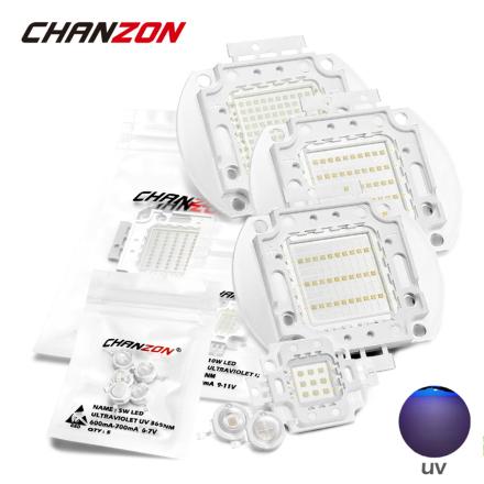 High Power UV Purple LED Chips 365nm 370nm 375nm 385nm 395nm 400nm 405nm 425nm COB Ultraviolet Lights 3W 5W 10W 20W 30W 50W 100W