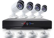 CCTV-reseller Övervakningssystem med 4x IP-kameror, 1.0MP. + NVR för inspelning mm.