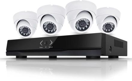CCTV-reseller Övervakningssystem 1.3MP. 4 st Dome övervakningskameror inomhus, POE