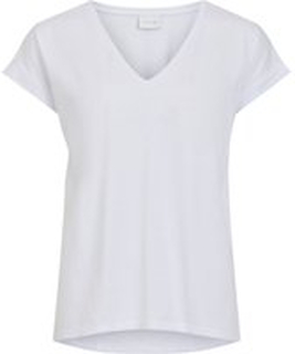 VILA V-ringad T-shirt Kvinna White