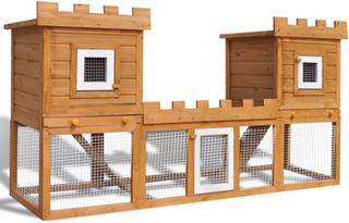 vidaXL udendørs kaninbur stort 2 huse