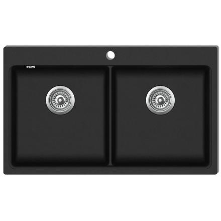 vidaXL Kjøkkenvask dobbel kum svart granitt