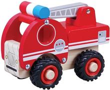 Houten Brandweerauto rubberen wielen met ladder