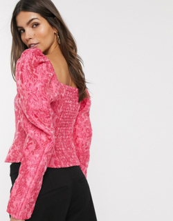 & Other Stories puff sleeve cropped top in pink floral jacquard