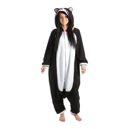 Svart Katt Kigurumi - Medium