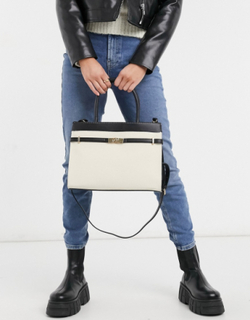 New Look leather look tote bag in stone