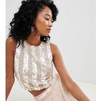 Lace & Beads - Hudfärgad dekorerad kort topp - Nude