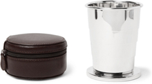 Silver-tone Collapsible Cup With Cross-grain Leather Case - Silver