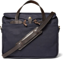 Original Leather-trimmed Twill Briefcase - Navy