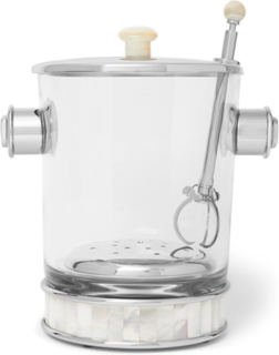 Glass, Silver-tone And Mother-of-pearl Ice Bucket And Tongs - Clear