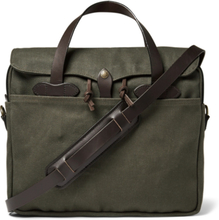 Original Leather-trimmed Twill Briefcase - Green