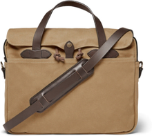 Original Leather-trimmed Twill Briefcase - Tan