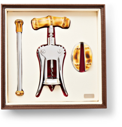 Bamboo And Chrome-plated Wine Set - Brown
