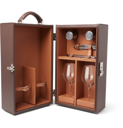 Leather Travelling Wine Box - Brown