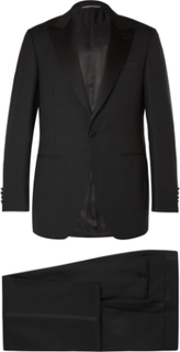 Black Slim-fit Satin-trimmed Wool Tuxedo - Black