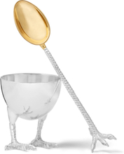 Sterling Silver Egg Cup And Spoon Set - Silver