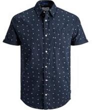 JACK & JONES Tryckt Kortärmad Skjorta Man Blå