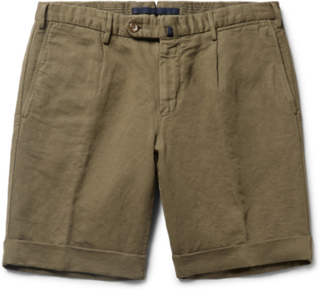 Slim-fit Linen And Cotton-blend Shorts - Green