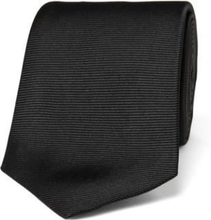 8cm Ribbed Silk Tie - Black