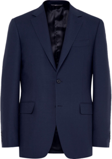 Royal-blue Slim-fit Travel Water-resistant Wool Blazer - Royal blue