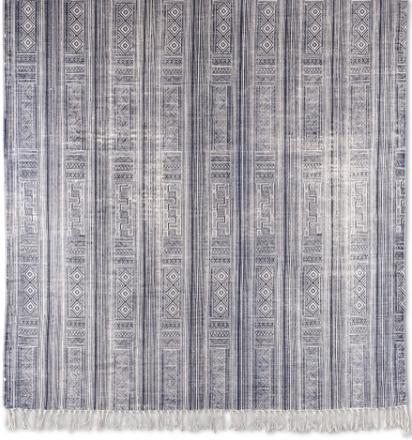 Stentvättad bomullsmatta Ronda - Blå - 160x230 cm