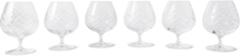 Barwell Set Of Six Cut Crystal Brandy Glasses - Clear