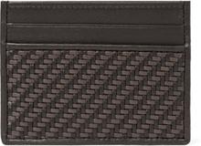 Pelle Tessuta Leather Cardholder - Dark brown