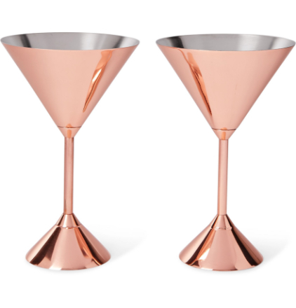 Plum Set Of Two Copper-plated Martini Glasses - Copper