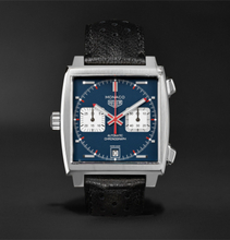 Monaco Automatic Chronograph 39mm Steel And Leather Watch - Blue
