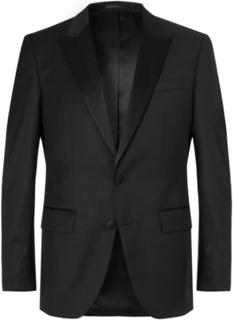 Black Halwood Slim-fit Super 120s Virgin Wool Tuxedo Jacket - Black