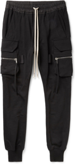Slim-fit Tapered Cotton-jersey Cargo Trousers - Black