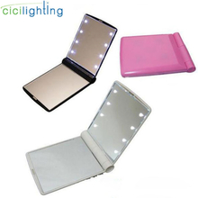 Portable LED Light Makeup Mirror Vanity lights Compact Make Up Pocket mirrors Vanity Cosmetic hand folding led Mirror lamp