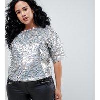 ASOS DESIGN - Curve - Oversize t-shirt täckt med paljetter - Gråmelerad