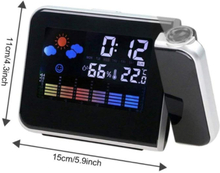 Smart Home Projection Digital Weather Station Time Projector LCD Snooze Alarm Clock Color Display w/ LED Backlight