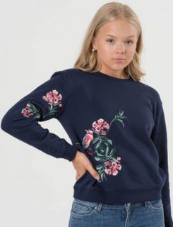 Gant O. EMBROIDERED C-NECK SWEAT Blå Tröjor/Cardigans till Tjej