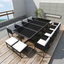 vidaXL Matgrupp för trädgården med dynor 13 delar konstrotting svart
