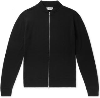 Slim-fit Merino Wool Zip-up Cardigan - Black