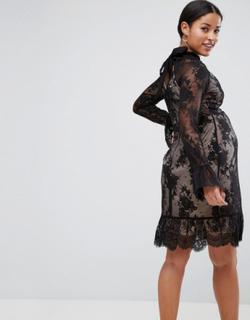 ASOS Maternity High Neck Open Back Lace Mini Dress-Black
