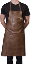 Læder forklæde - kroko taupe