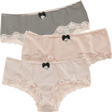 Pussy Deluxe - 3-pack Hipsters - Underbyxor-paket - rosa svart