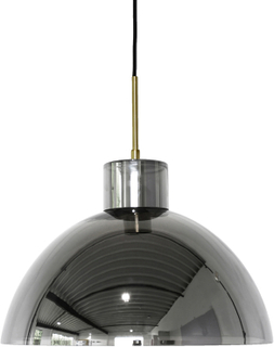 HÜBSCH loftslampe - sort glas, elektrogavaniseret, rund
